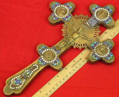 Antique Russian Orthodox Icons Large Blessing Cross Brass Enamel 19th century