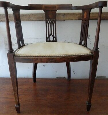 Edwardian antique vintage wooden solid chair white covering the chair