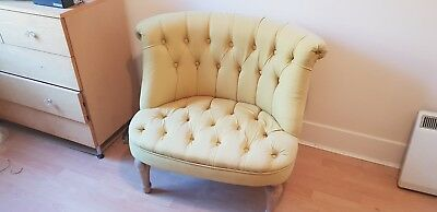 victorian button back armchair in yellow