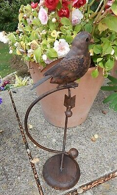 Rustic Aged Look Metal Swinging Bird On Base Garden Ornament