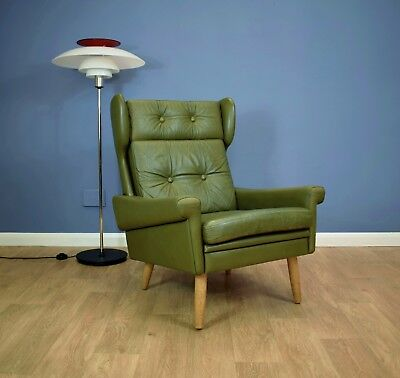 Mid Century Retro Vintage Danish Green Leather Skippers Mobler Lounge Arm Chair
