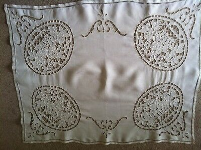 Vintage French Linen Table cloth with cut out and ladder work