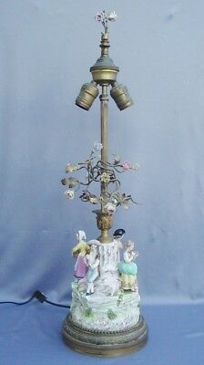 French Lamp With Porcelain Flowers