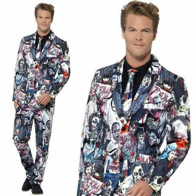 Mens Zombie Stand Out Suit Halloween Comic Strip Stag Fancy Dress Costume