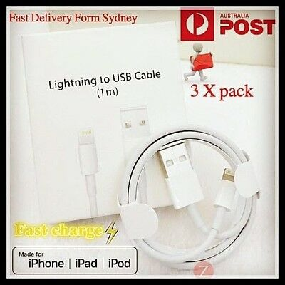 3X Lightning Data Charger Cable Compatible Genuine Apple iPhone 5 6 S 7 8 X iPad