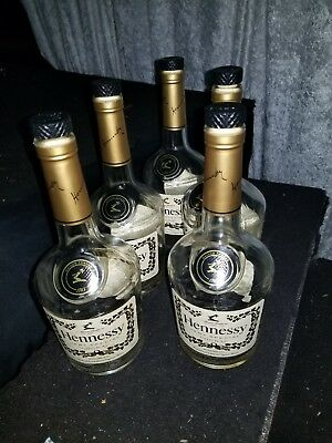 Lot of 5 Empty 750 ML Hennessy VS Very Special Cognac Bottles With Caps