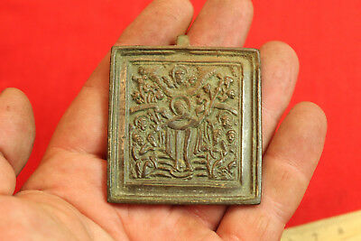 OLD ANTIQUE ORIGINAL RUSSIAN BRASS BRONZE ICON Joy of All Who Sorrow
