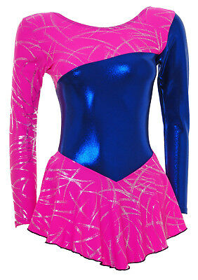 Skating Dress -Royal Blue Shine/Pink Met Foil L/S ALL SIZES (S094b)