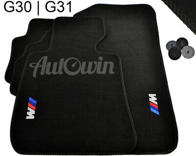 BMW 5 Series G30 Black Floor Mats With ///M Emblem With Clips NEW