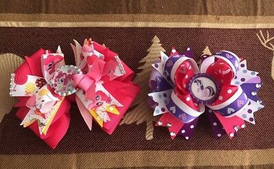 NWOT My Little Pony Girls Hair Bows Lot  Large Pink/ Purple