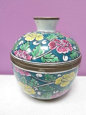 Vintage Chinese Porcelain Covered Dish Green Decorated Floral With Metal Rims