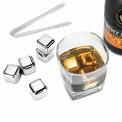8PCS Stainless Steel Ice Cube Cubes Glacier Rocks Whisky Whiskey Stones Bulk Set