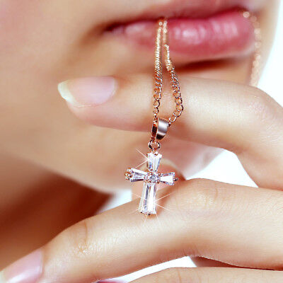 Cubic Zirconia Crystal Cross Necklace Pendant First Holy Communion Present Gift
