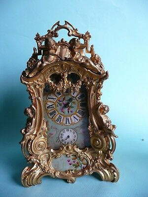 Vintage Rococo Style Ormolu 8 Day Repeating Chiming Alarm Clock.........ref.1058
