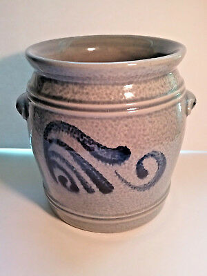 Antique Small GRAY/BLUE Crock - Vintage Salt Glaze Crock - Ears Intact - No Dmg.