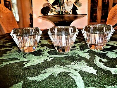 Three Gorgeous Lenox Crystal Faceted Short Height Candle Holders