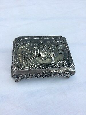 Vintage Silver Plated Relief Trinket Box With Makers Stamp