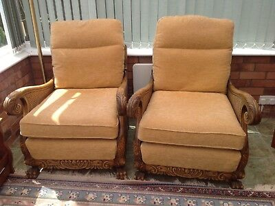 Two Bergere Upholstered Chairs