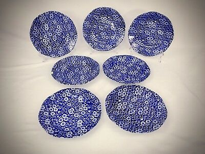 SET 7 BLUE CALICO CROWNFORD STAFFORDSHIRE  BURLEIGH STAMP Salad Plates ENGLAND