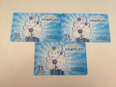 Three (3) $25 Cineplex Cards - $75 Total