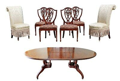 Contemporary Traditional Drexel Solid Wood Dining Table & Set of 6 Chairs 1990s