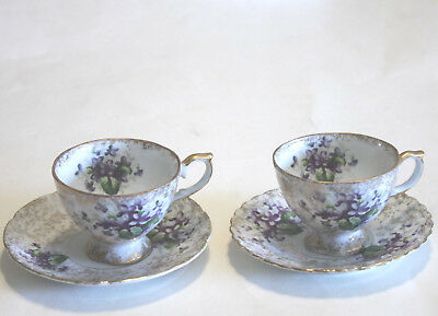 2 Napco Cup and Saucers Handpainted Purple Gold Flowers Cup with Saucer