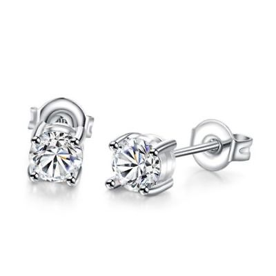 2 Ct Round Created Diamond Stud Earrings in 14K White Gold Plated Stud Earrings