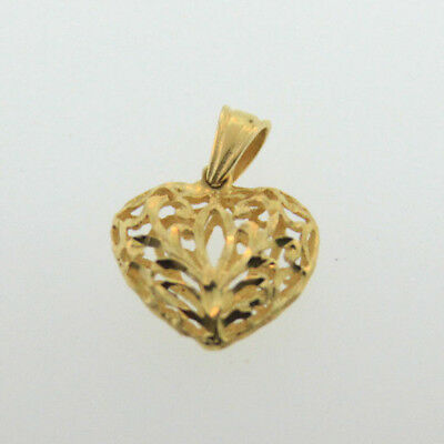 Stamped 14K Yellow Gold Open Carved Detailed Heart Pendant Charm