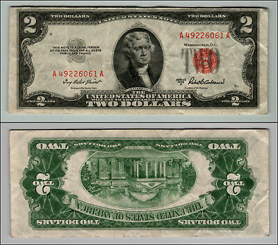 1953A $2 DOLLAR BILL OLD US NOTE LEGAL TENDER PAPER MONEY CURRENCY RED SEAL p637