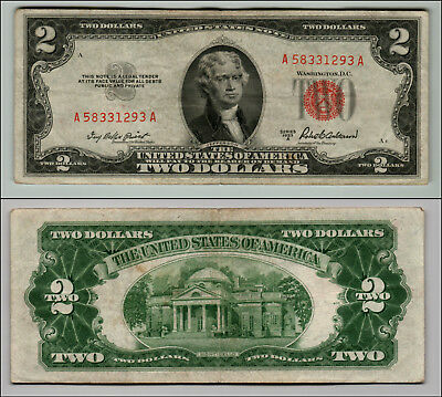 1953A $2 Dollar Bill Old Us Note Legal Tender Paper Money Currency Red Seal Q823