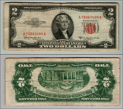1953C $2 Dollar Bill  Us Note Legal Tender Paper Money Currency Red Seal P738