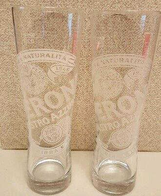 Peroni Etched Italian Nastro Azzuro Beer Glasses .31 SQHM. Set of 2