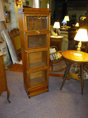 Antique Oak Bookcase Macey barrister lawyers 1/2 size refinished stacking labels
