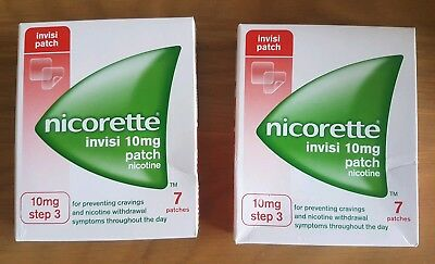 BNIB Nicorette Invisi Patch 10mg STEP 3 x 2 Boxes of 7 days 14 patches total