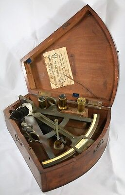 PRE-1850s E & G W BLUNT SEXTANT COMPASS QUADRANT BRONZE WITH INLAY OCTANT W/CASE