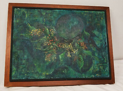 Antique Vintage MCM Mid Century Abstract Oil ON Canvas Painting Signed Floral