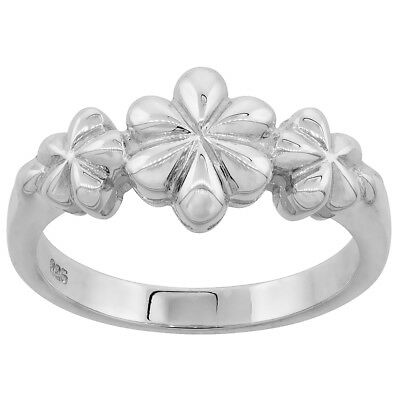 Sterling Silver Dainty 3-flower Ring Flawless finish 3/8 inch wide, sizes 6 to