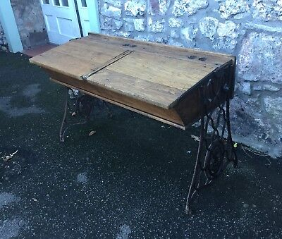 Antique Oak School Desk Double, Singer Cast Iron Base, Childs School Desk