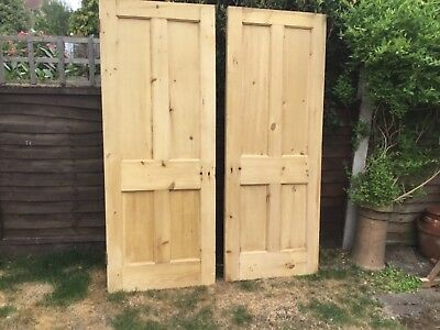 pair of Victorian stripped pine solid doors
