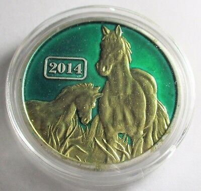 (2014)  1 oz Colorized Tokelau  Lunar Year of the Horse .999 Silver Coin