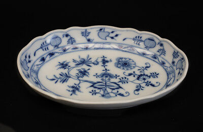 "Meissen Blue Onion 10"" Oval Serving Bowl, Oval and star makers mark, 1855-1934."