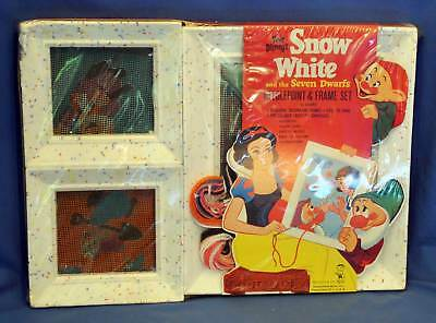 Walt Disney Snow White & the 7 Dwarfs Needle Point Frame Set SEALED Vintage 1950