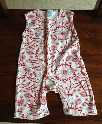 Tesa Babe Red Forest Flower Sleeveless Romper, bohemian nature baby, 0-3 mos