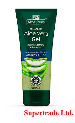 12 Packs of Aloe Pura Aloe Vera Organic Gel with Vitamins A C & E - 200ml