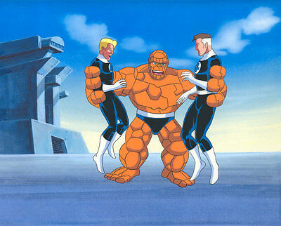 Fantastic Four Animation Production Cel - Thing, Mr. Fantastic & Torch - Marvel!