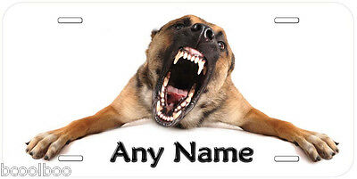 Very Angry Belgian Shepherd Dog Personalized Novelty Aluminum Car License Plate