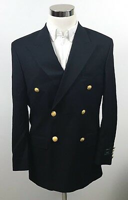 NWT LRL Ralph Lauren Mens 38S Double Breasted Blazer Gold Button Super 100s Wool
