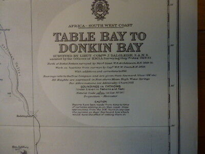 Original Vintage Admiralty Chart #2091 Table Bay to Donkin Bay