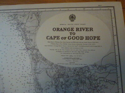 Original Vintage Admiralty Chart #578 Orange River to Cape of Good Hope