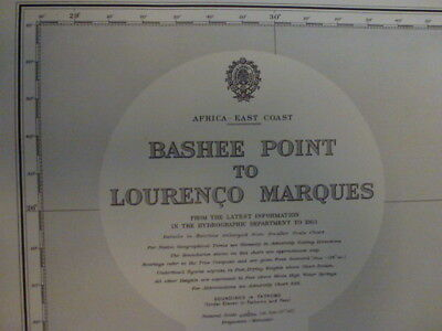 Original Vintage Admiralty Chart #3300 Bashee Point to Lourenco Marques E AFRICA